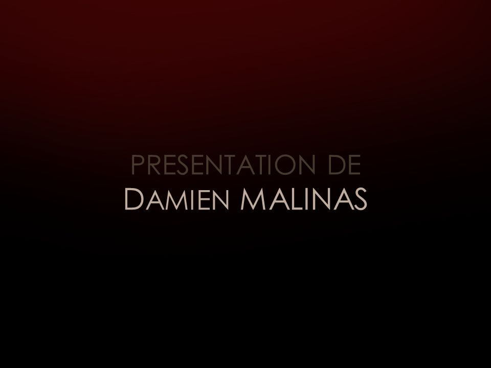 PRESENTATION DE D AMIEN MALINAS