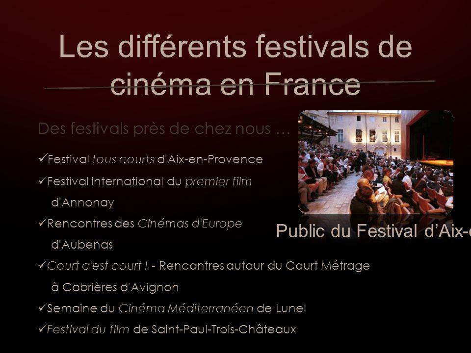 Les différents festivals de cinéma en France Des festivals près de chez nous … Festival tous courts d Aix-en-Provence Festival International du premier film d Annonay Rencontres des Cinémas d Europe d Aubenas Court c est court .