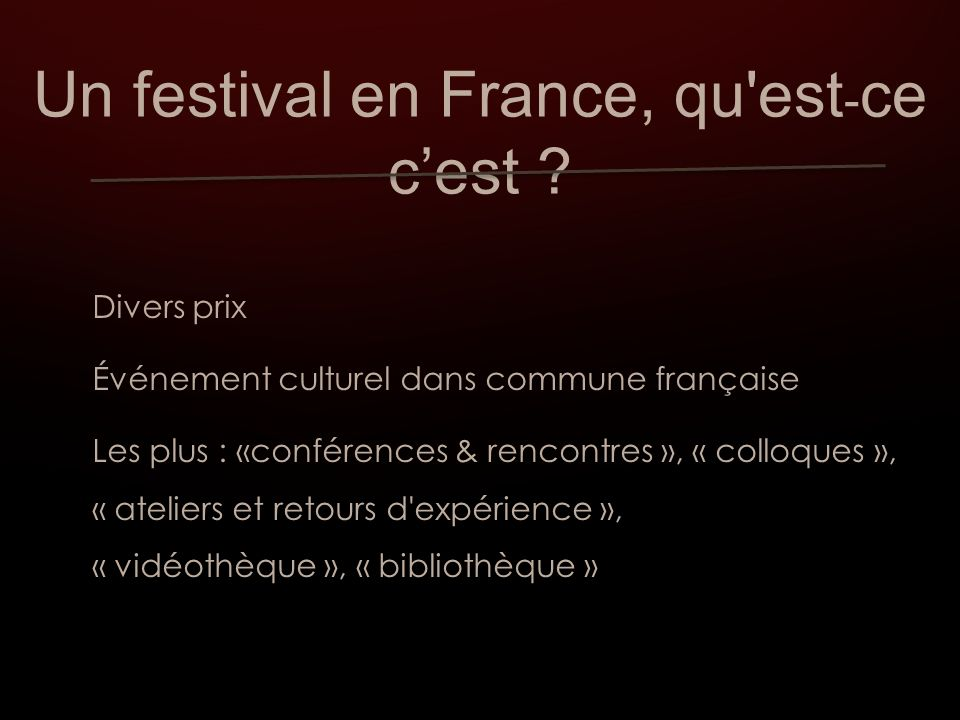 Nouveauté : My french film festival - à l heure du Web 2.0 - Plus de « 310.000 visites » et « 40.000 » vues (films) Prix : Prix du jury / Prix du public / Prix du jury de réseaux sociaux / Prix de la presse internationale/ Prix des blogueurs, etc.