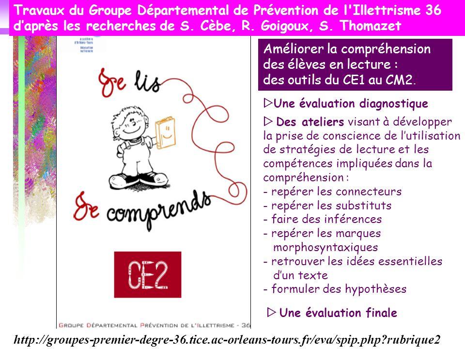 Améliorer la compréhension des élèves en lecture : des outils du CE1 au CM2. Travaux du Groupe Départemental de Prévention de l'Illettrisme 36 daprès