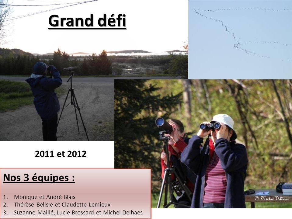 Grand défi 2011 et 2012 Nos 3 équipes : 1.Monique et André Blais 2.Thérèse Bélisle et Claudette Lemieux 3. Suzanne Maillé, Lucie Brossard et Michel De