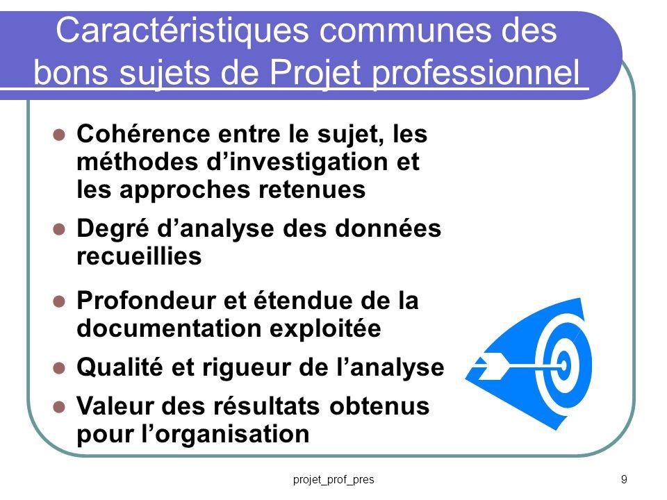projet_prof_pres8 Choisir un bon sujet pour votre Projet professionnel Dimension stratégique du contexte Concerne les questions de management Capable