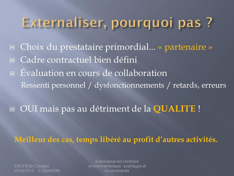 Choix du prestataire primordial... « partenaire » Cadre contractuel bien défini Évaluation en cours de collaboration Ressenti personnel / dysfonctionn
