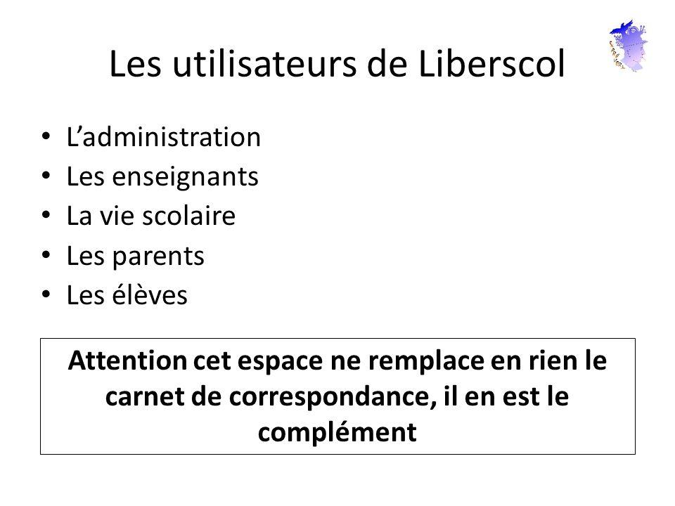 Les utilisateurs de Liberscol Ladministration Les enseignants La vie scolaire Les parents Les élèves Attention cet espace ne remplace en rien le carne