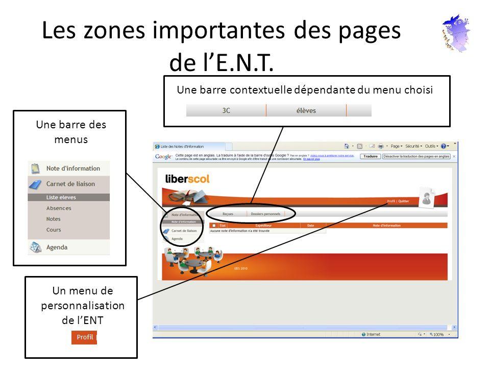 Les zones importantes des pages de lE.N.T. Une barre des menus Une barre contextuelle dépendante du menu choisi Un menu de personnalisation de lENT