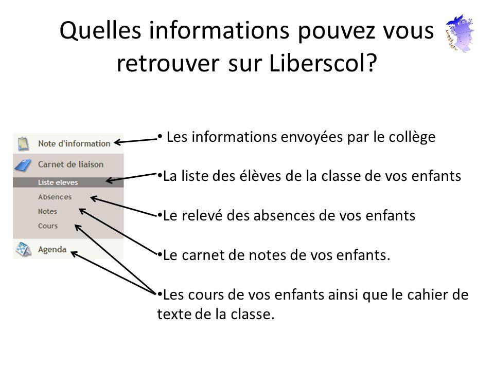 Quelles informations pouvez vous retrouver sur Liberscol? Les informations envoyées par le collège La liste des élèves de la classe de vos enfants Le