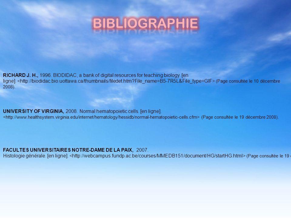 RICHARD J. H., 1996. BIODIDAC, a bank of digital resources for teaching biology. [en ligne]. (Page consultée le 10 décembre 2008). UNIVERSITY OF VIRGI