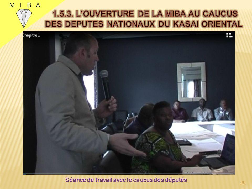 M I B A Séance de travail le samedi 1er juin 2013 une trentaine avec des députés nationaux du Kasaï Oriental à Kinshasa afin de : Séance de travail le samedi 1er juin 2013 une trentaine avec des députés nationaux du Kasaï Oriental à Kinshasa afin de : o Donner létat des lieux de la MIBA au 30 mai 2013; o Obtenir un plaidoyer auprès du Gouvernement Central concernant les difficultés, ainsi que les attentes et perspectives davenir.
