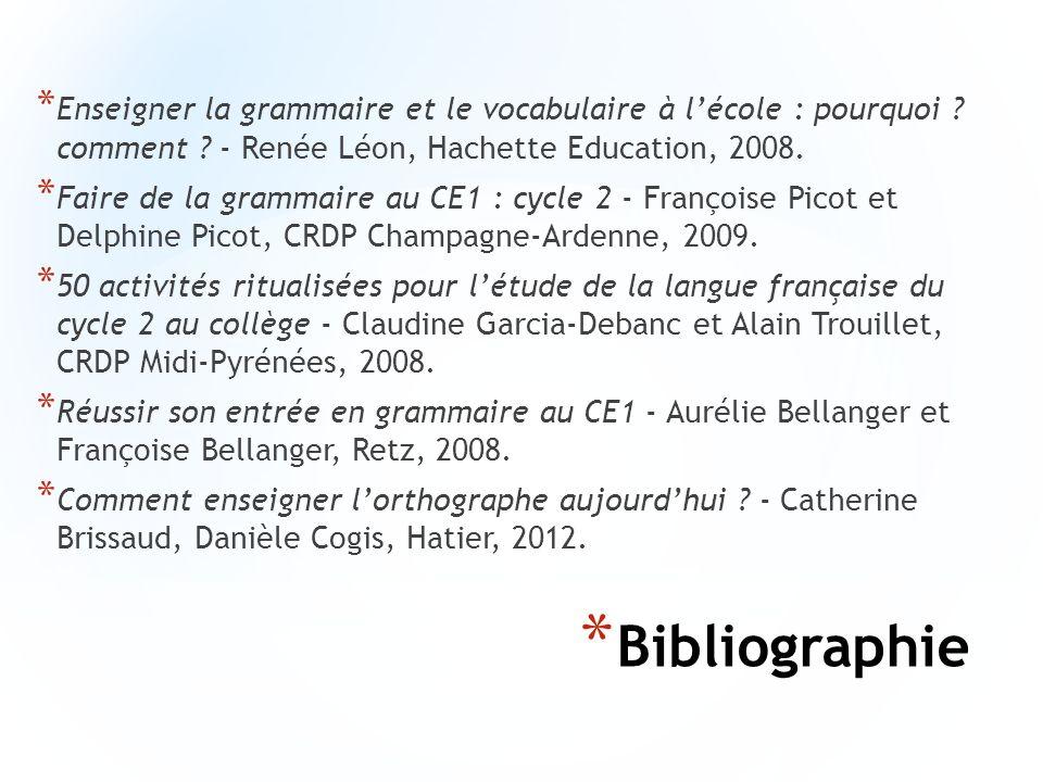 * Bibliographie * Enseigner la grammaire et le vocabulaire à lécole : pourquoi ? comment ? - Renée Léon, Hachette Education, 2008. * Faire de la gramm