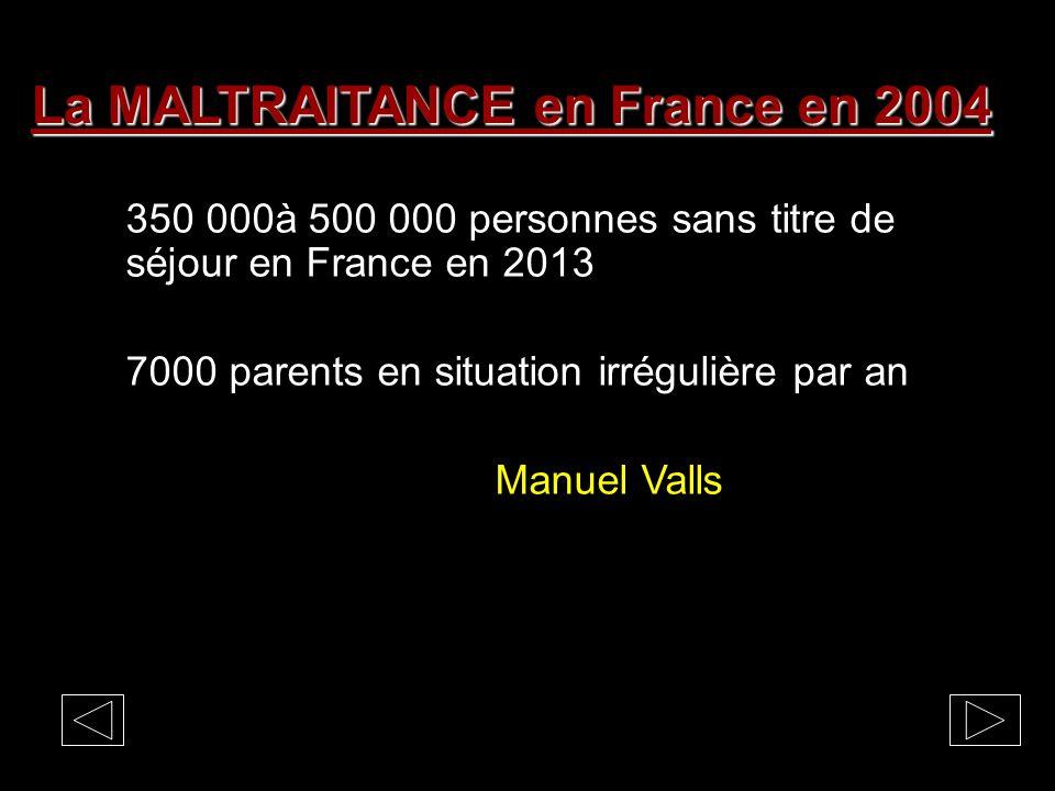 La MALTRAITANCE en France en 2004 Le non désir denfant tardif Avortements: 300.000 par an Infanticides: 250 par an Enfant abandonné sous X: 700 par an