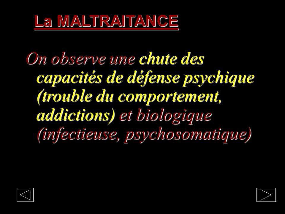 La MALTRAITANCE en France en 2004 260 000 signalements : 95 000 enfants en danger, 76 000 enfants en risque dont 19 000 enfants maltraités: violences