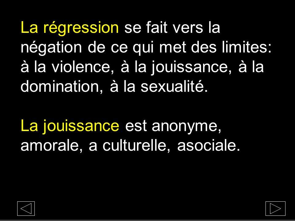 La régression se fait vers la négation de ce qui met des limites: à la violence, à la jouissance, à la domination, à la sexualité.