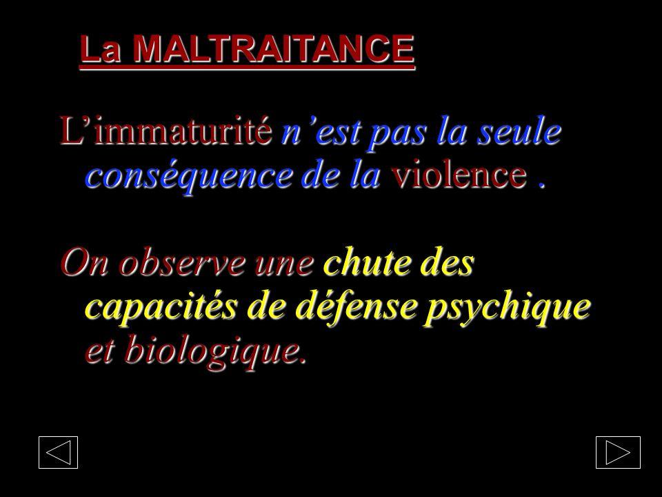 La MALTRAITANCE Limmaturité nest pas la seule conséquence de la violence.