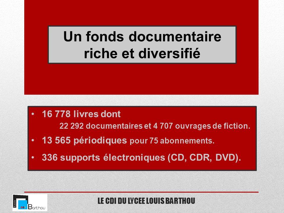 LE CDI DU LYCEE LOUIS BARTHOU Un fonds documentaire riche et diversifié 16 778 livres dont 22 292 documentaires et 4 707 ouvrages de fiction. 13 565 p