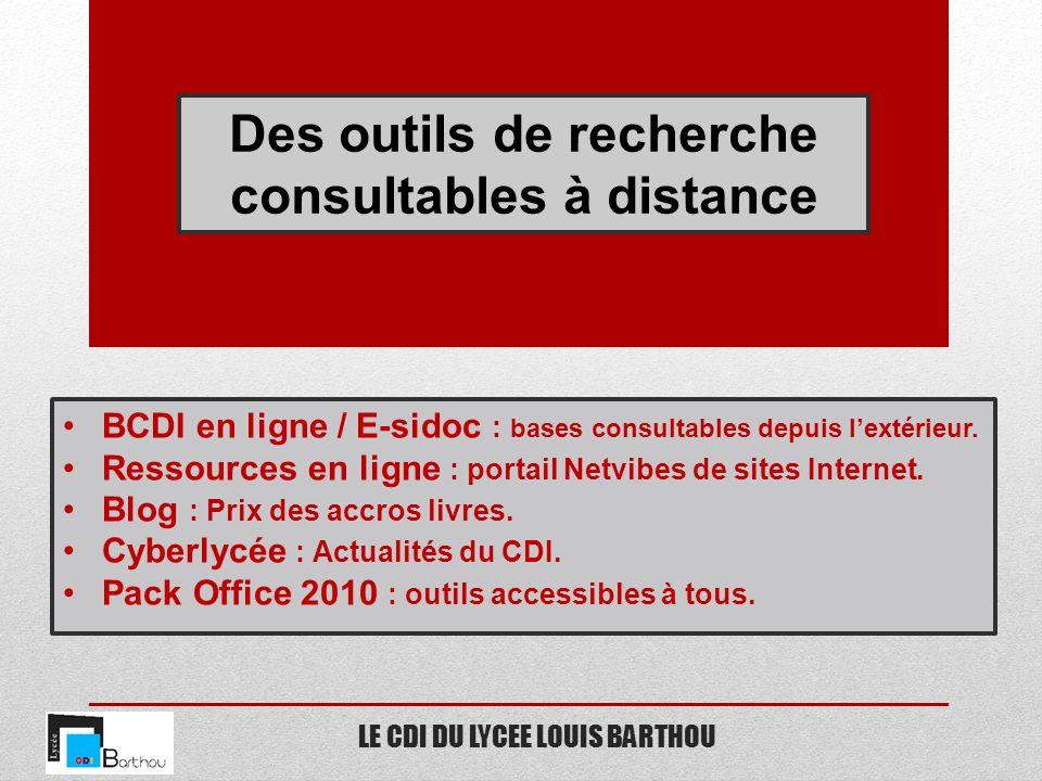 LE CDI DU LYCEE LOUIS BARTHOU Des outils de recherche consultables à distance BCDI en ligne / E-sidoc : bases consultables depuis lextérieur. Ressourc