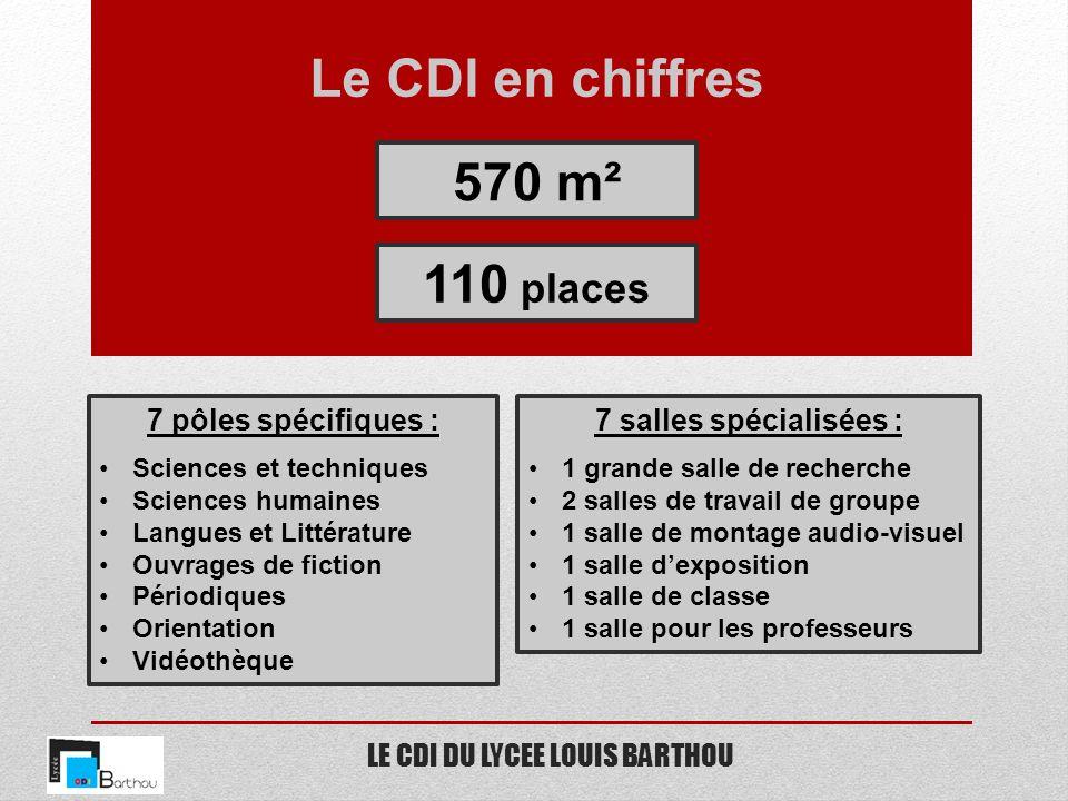 LE CDI DU LYCEE LOUIS BARTHOU Le CDI en chiffres 570 m² 110 places 7 pôles spécifiques : Sciences et techniques Sciences humaines Langues et Littératu