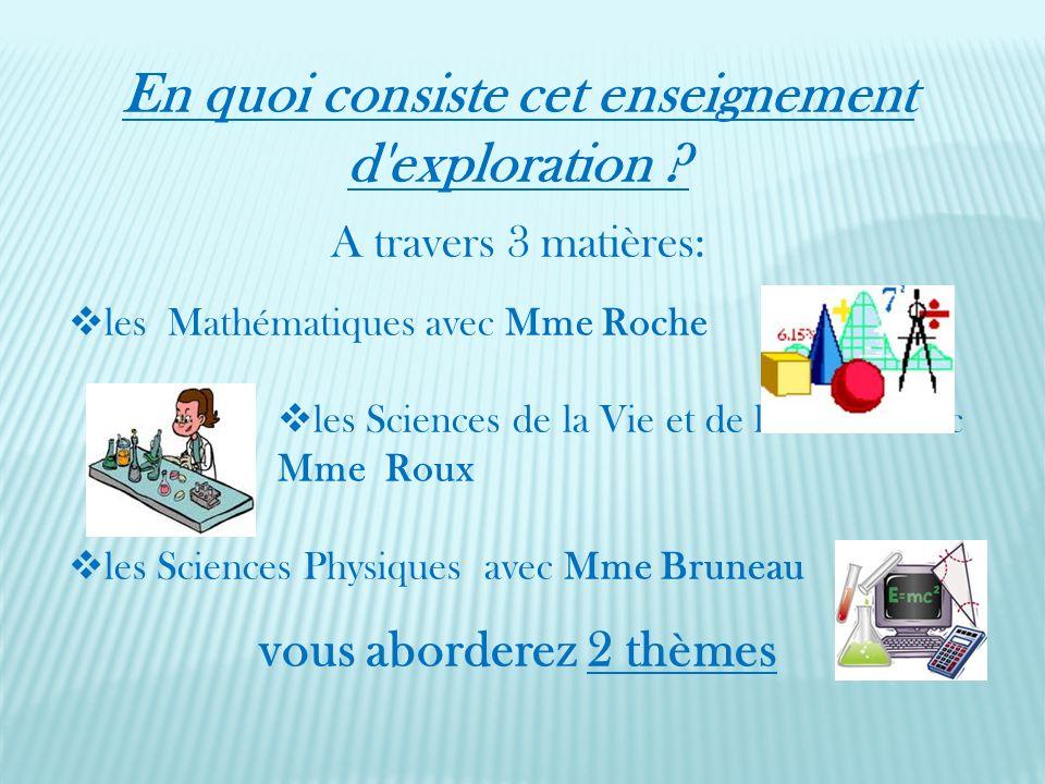 En quoi consiste cet enseignement d'exploration ? A travers 3 matières: les Mathématiques avec Mme Roche les Sciences de la Vie et de la Terre avec Mm