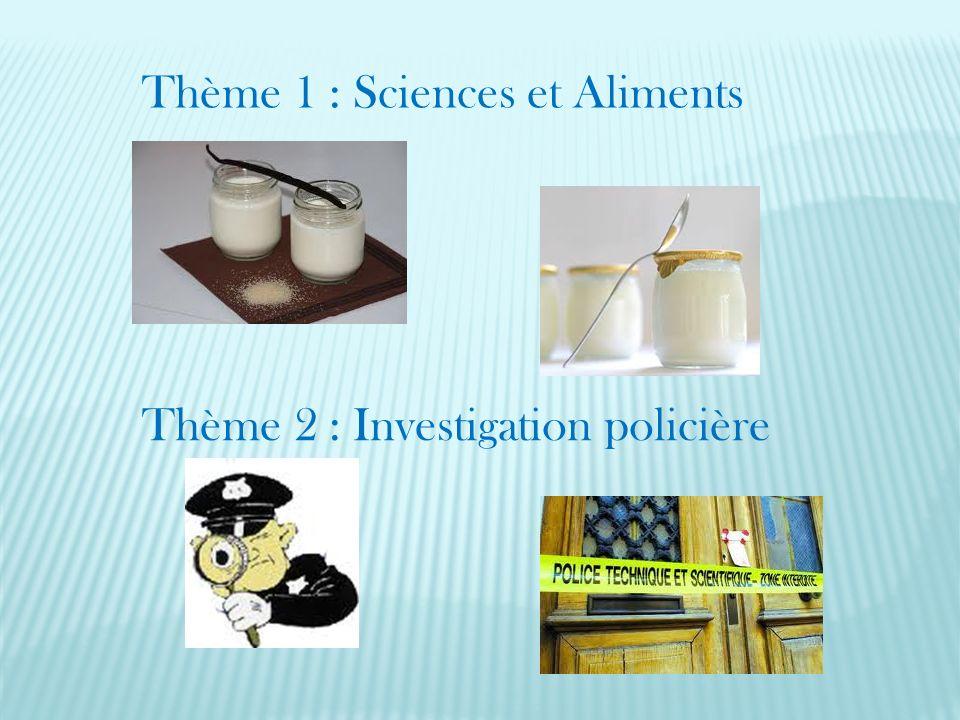 Thème 1 : Sciences et Aliments Thème 2 : Investigation policière
