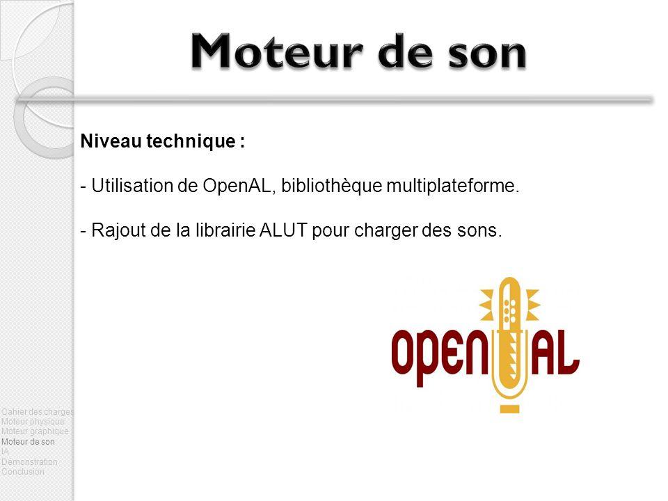 Niveau technique : - Utilisation de OpenAL, bibliothèque multiplateforme. - Rajout de la librairie ALUT pour charger des sons. Cahier des charges Mote