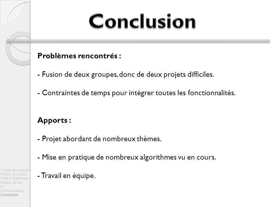 Problèmes rencontrés : - Fusion de deux groupes, donc de deux projets difficiles.