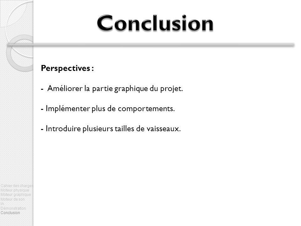 Perspectives : - Améliorer la partie graphique du projet. - Implémenter plus de comportements. - Introduire plusieurs tailles de vaisseaux. Cahier des
