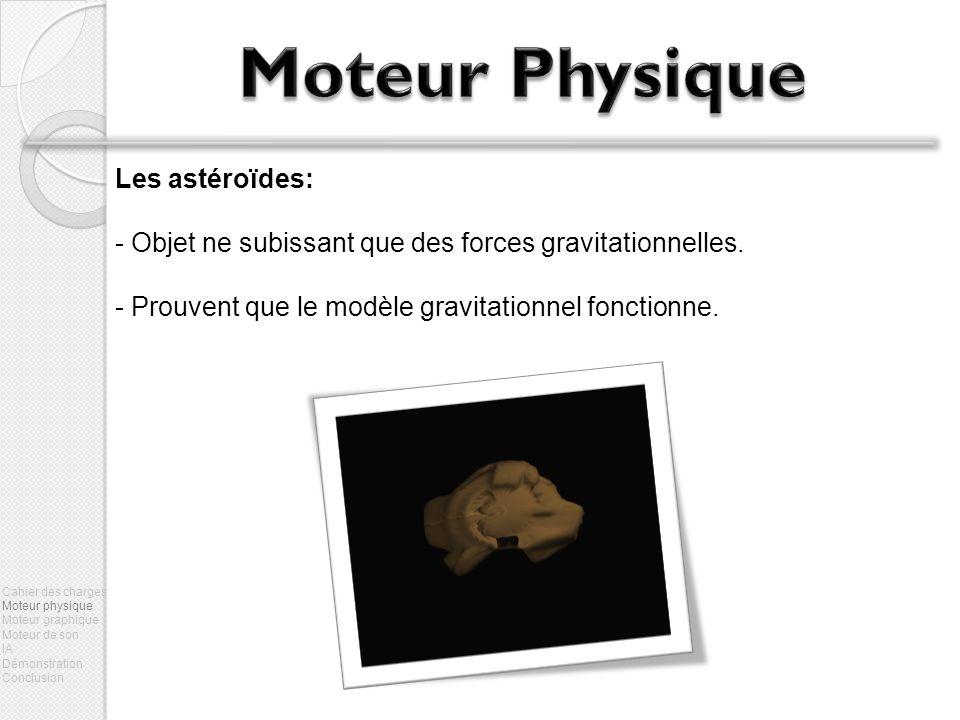 Les astéroïdes: - Objet ne subissant que des forces gravitationnelles. - Prouvent que le modèle gravitationnel fonctionne. Cahier des charges Moteur p