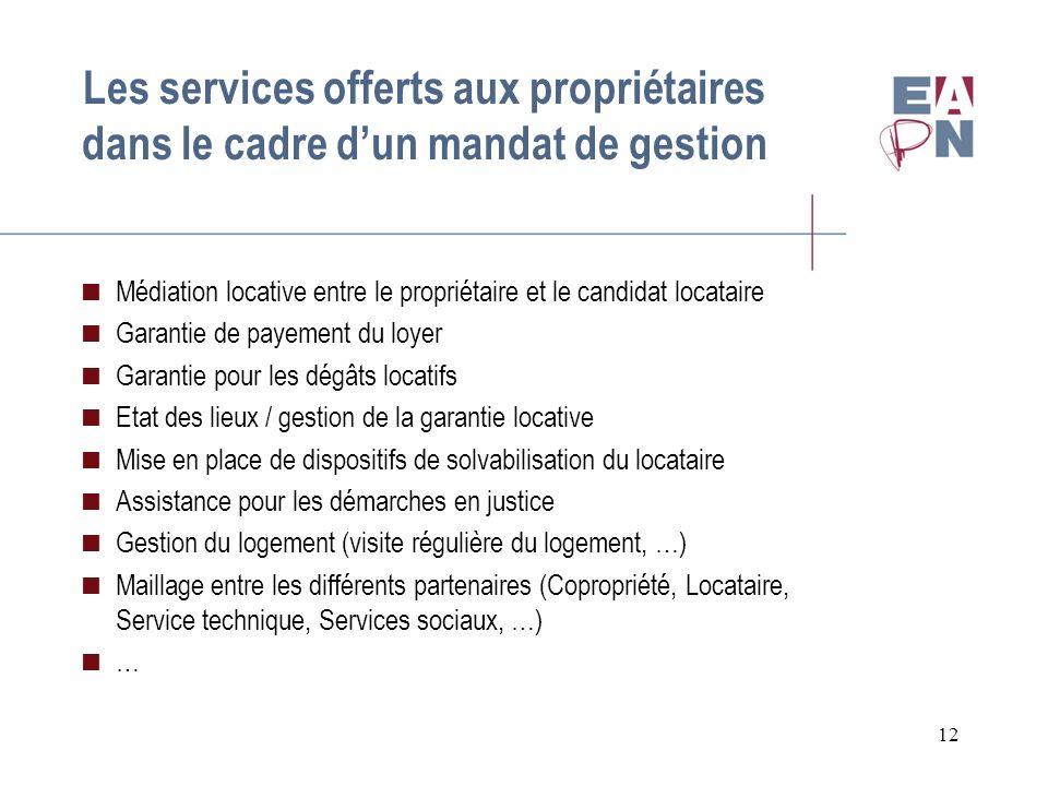 12 Les services offerts aux propriétaires dans le cadre dun mandat de gestion Médiation locative entre le propriétaire et le candidat locataire Garant