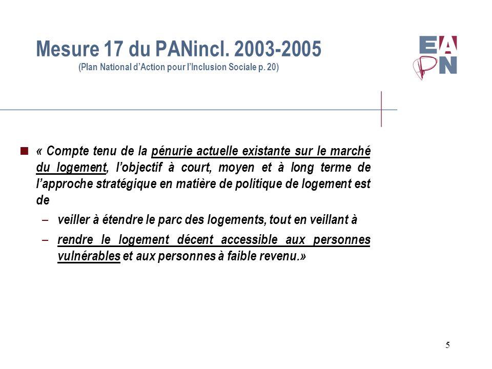 5 Mesure 17 du PANincl. 2003-2005 (Plan National dAction pour lInclusion Sociale p. 20) « Compte tenu de la pénurie actuelle existante sur le marché d