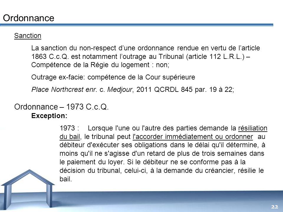 Free Powerpoint Templates 22 Sanction La sanction du non-respect dune ordonnance rendue en vertu de larticle 1863 C.c.Q. est notamment loutrage au Tri
