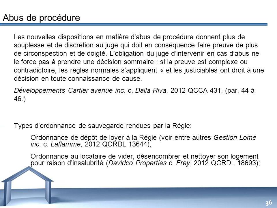 Free Powerpoint Templates 36 Les nouvelles dispositions en matière dabus de procédure donnent plus de souplesse et de discrétion au juge qui doit en c