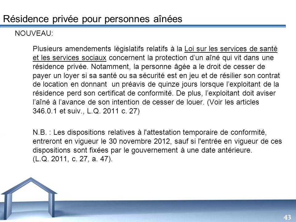 Free Powerpoint Templates 43 NOUVEAU: Plusieurs amendements législatifs relatifs à la Loi sur les services de santé et les services sociaux concernent