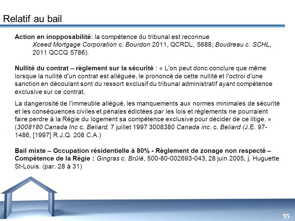 Free Powerpoint Templates 55 Action en inopposabilité: la compétence du tribunal est reconnue Xceed Mortgage Corporation c. Bourdon 2011, QCRDL, 5688;
