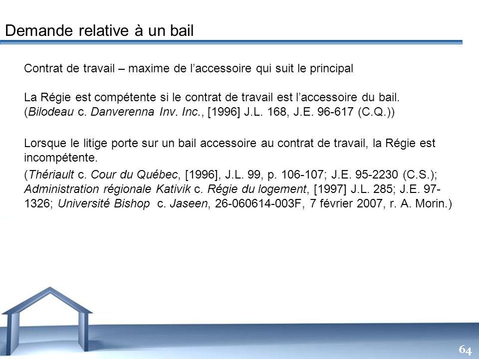 Free Powerpoint Templates 64 Contrat de travail – maxime de laccessoire qui suit le principal La Régie est compétente si le contrat de travail est lac