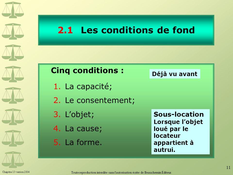 Chapitre 13 version 2004 Toute reproduction interdite sans l'autorisation écrite de Beauchemin Éditeur. 11 2.1Les conditions de fond Cinq conditions :