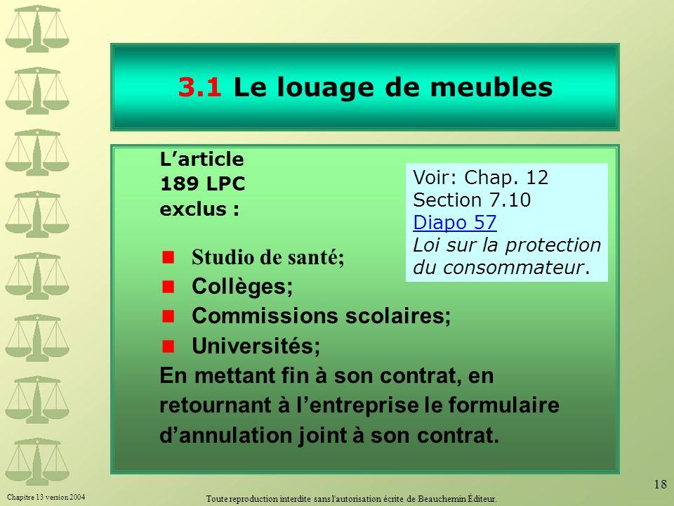Chapitre 13 version 2004 Toute reproduction interdite sans l'autorisation écrite de Beauchemin Éditeur. 18 3.1 Le louage de meubles Larticle 189 LPC e