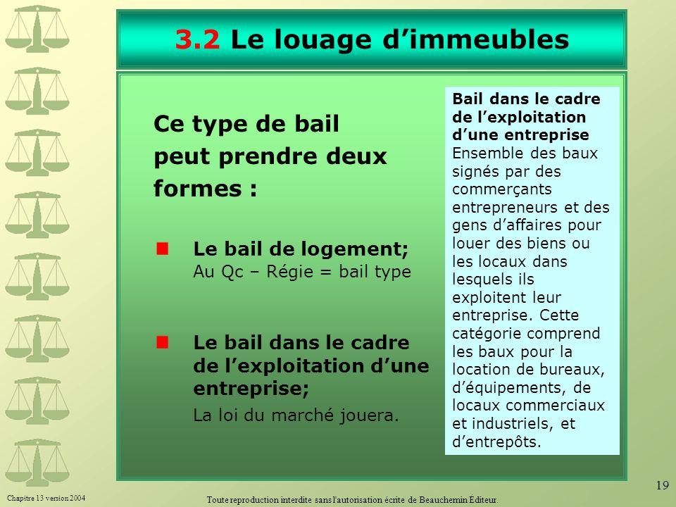 Chapitre 13 version 2004 Toute reproduction interdite sans l'autorisation écrite de Beauchemin Éditeur. 19 3.2 Le louage dimmeubles Ce type de bail pe