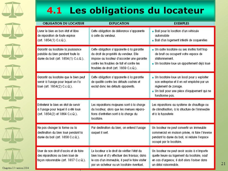 Chapitre 13 version 2004 Toute reproduction interdite sans l'autorisation écrite de Beauchemin Éditeur. 21 4.1Les obligations du locateur