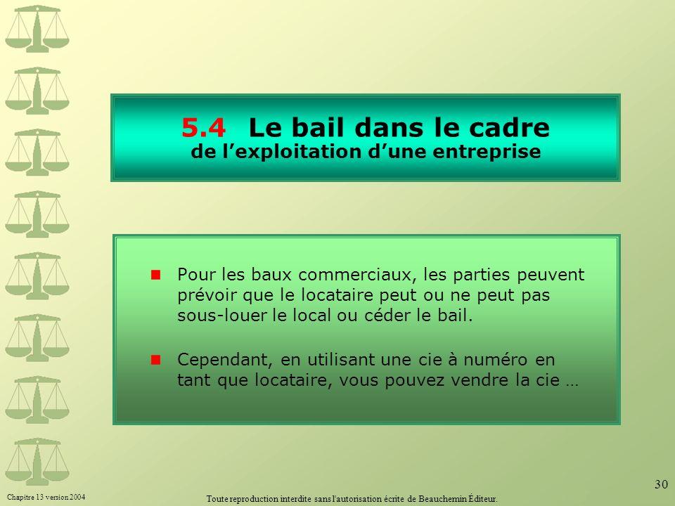 Chapitre 13 version 2004 Toute reproduction interdite sans l'autorisation écrite de Beauchemin Éditeur. 30 5.4Le bail dans le cadre de lexploitation d