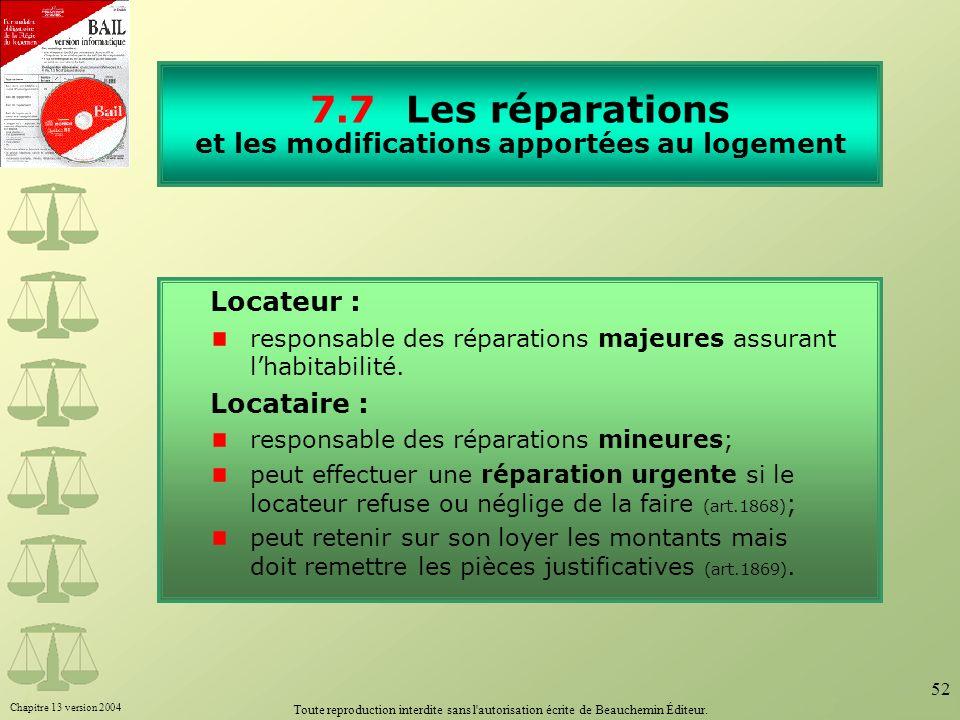 Chapitre 13 version 2004 Toute reproduction interdite sans l'autorisation écrite de Beauchemin Éditeur. 52 7.7Les réparations et les modifications app