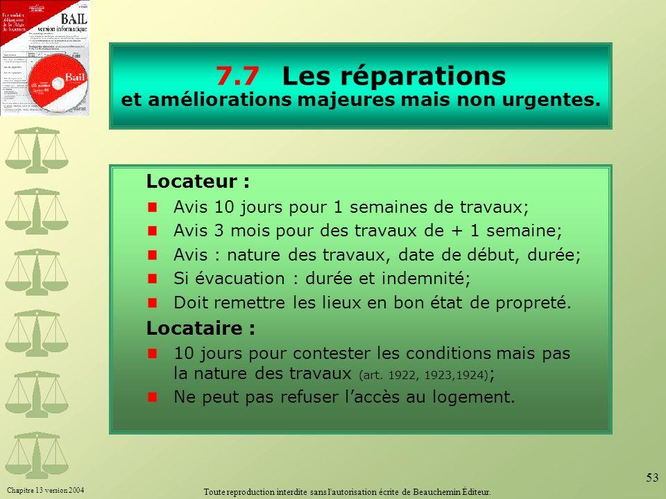 Chapitre 13 version 2004 Toute reproduction interdite sans l'autorisation écrite de Beauchemin Éditeur. 53 7.7Les réparations et améliorations majeure