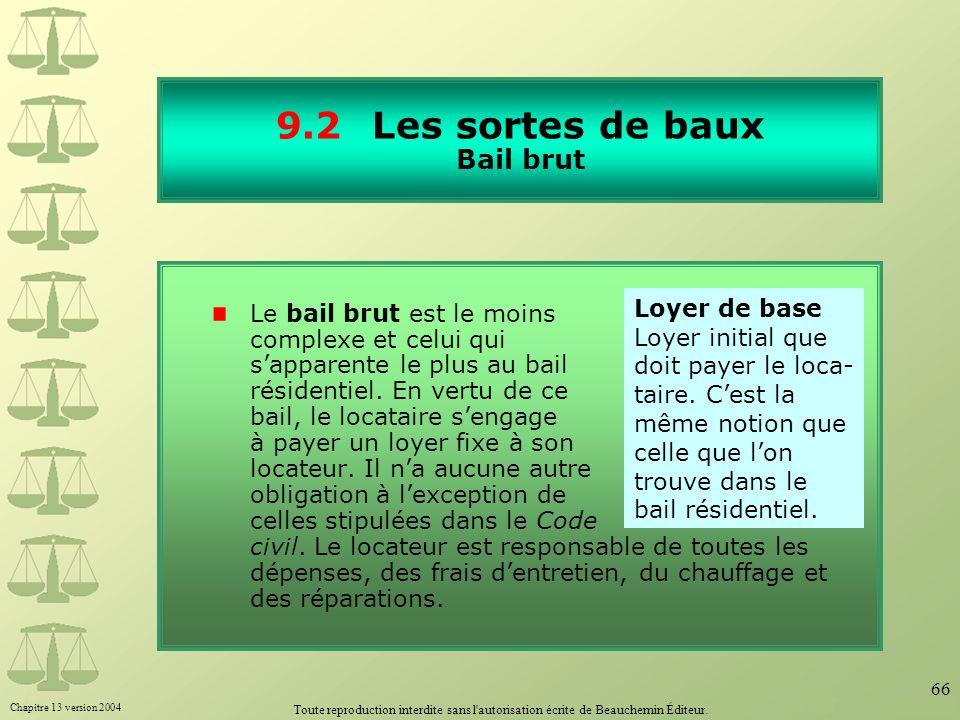 Chapitre 13 version 2004 Toute reproduction interdite sans l'autorisation écrite de Beauchemin Éditeur. 66 9.2Les sortes de baux Bail brut Le bail bru