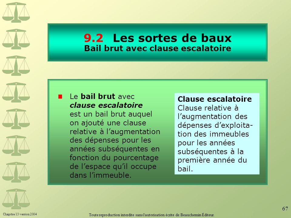 Chapitre 13 version 2004 Toute reproduction interdite sans l'autorisation écrite de Beauchemin Éditeur. 67 9.2Les sortes de baux Bail brut avec clause