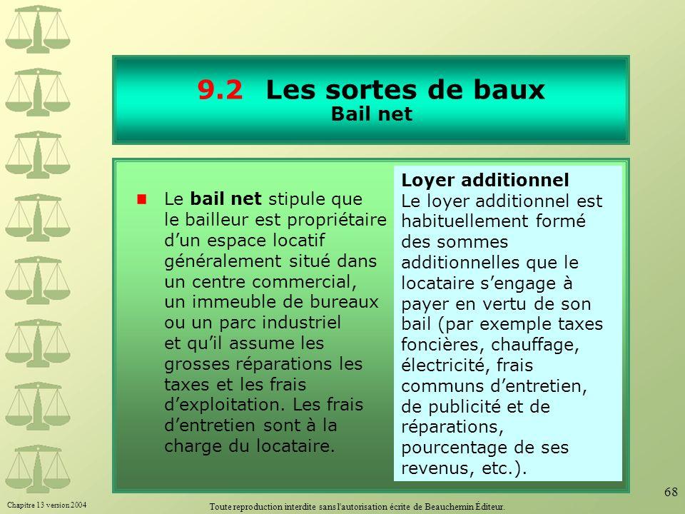 Chapitre 13 version 2004 Toute reproduction interdite sans l'autorisation écrite de Beauchemin Éditeur. 68 9.2Les sortes de baux Bail net Le bail net