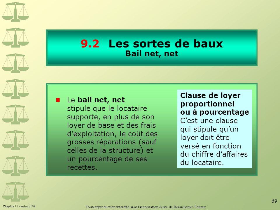Chapitre 13 version 2004 Toute reproduction interdite sans l'autorisation écrite de Beauchemin Éditeur. 69 9.2Les sortes de baux Bail net, net Le bail