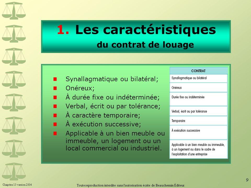 Chapitre 13 version 2004 Toute reproduction interdite sans l'autorisation écrite de Beauchemin Éditeur. 9 1.Les caractéristiques du contrat de louage