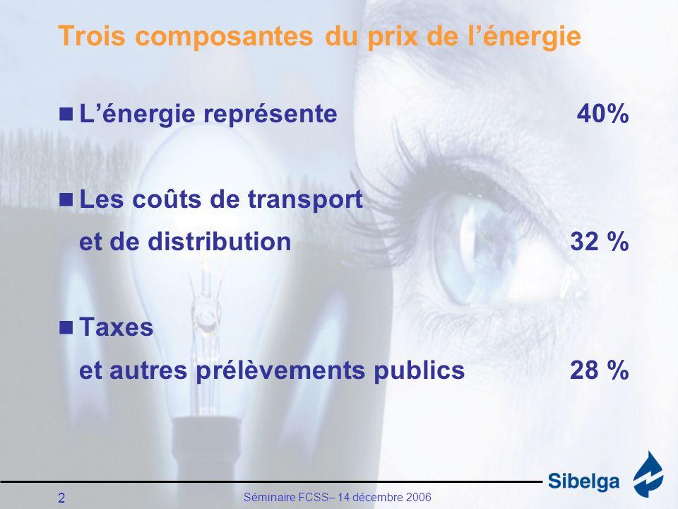 Séminaire FCSS– 14 décembre 2006 2 Trois composantes du prix de lénergie Lénergie représente 40% Les coûts de transport et de distribution32 % Taxes et autres prélèvements publics28 %