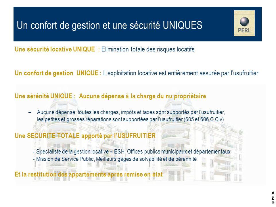 Une sécurité locative UNIQUE : Elimination totale des risques locatifs Un confort de gestion UNIQUE : Lexploitation locative est entièrement assurée p