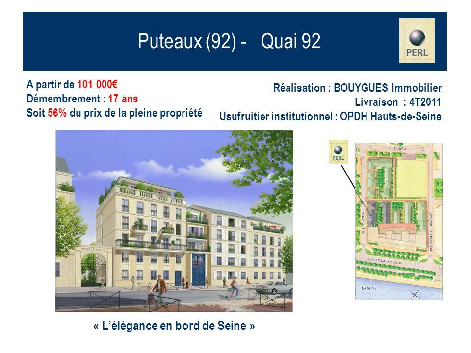 Puteaux (92) - Quai 92 A partir de 101 000 Démembrement : 17 ans Soit 56% du prix de la pleine propriété Réalisation : BOUYGUES Immobilier Livraison :