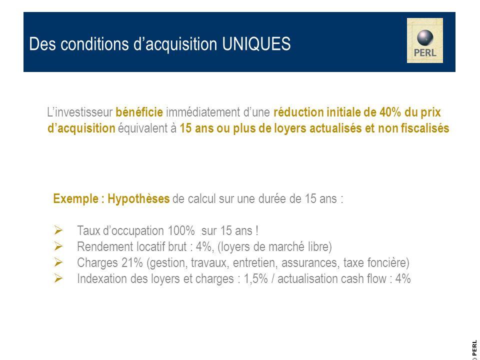 © PERL Des conditions dacquisition UNIQUES Linvestisseur bénéficie immédiatement dune réduction initiale de 40% du prix dacquisition équivalent à 15 a