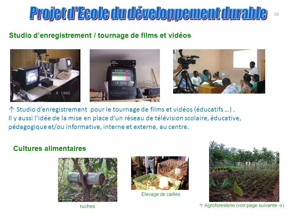 Studio denregistrement pour le tournage de films et vidéos (éducatifs …). Il y aussi lidée de la mise en place dun réseau de télévision scolaire, éduc